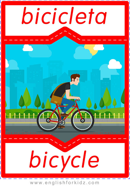 Bicycle in Spanish, English-Spanish flashcard