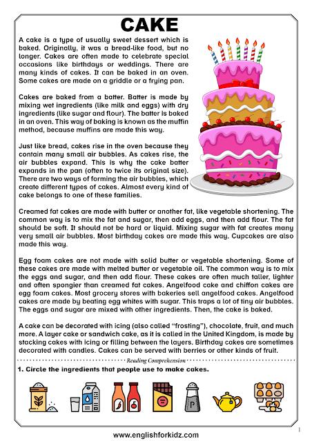Reading comprehension passage about baking cakes