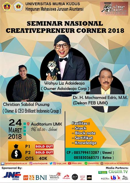 """Ikuti Seminar Nasional Creativepreneur Corner 2018 Dengan Tema """"Yang Muda Yang Inovatif'"""