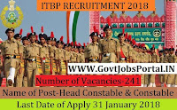 Indo-Tibetian Border Police Force Recruitment 2018 –241 Head Constable & Constable