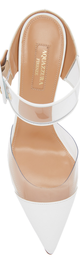 Aquazzura Optic PVC-Trimmed Leather Mules