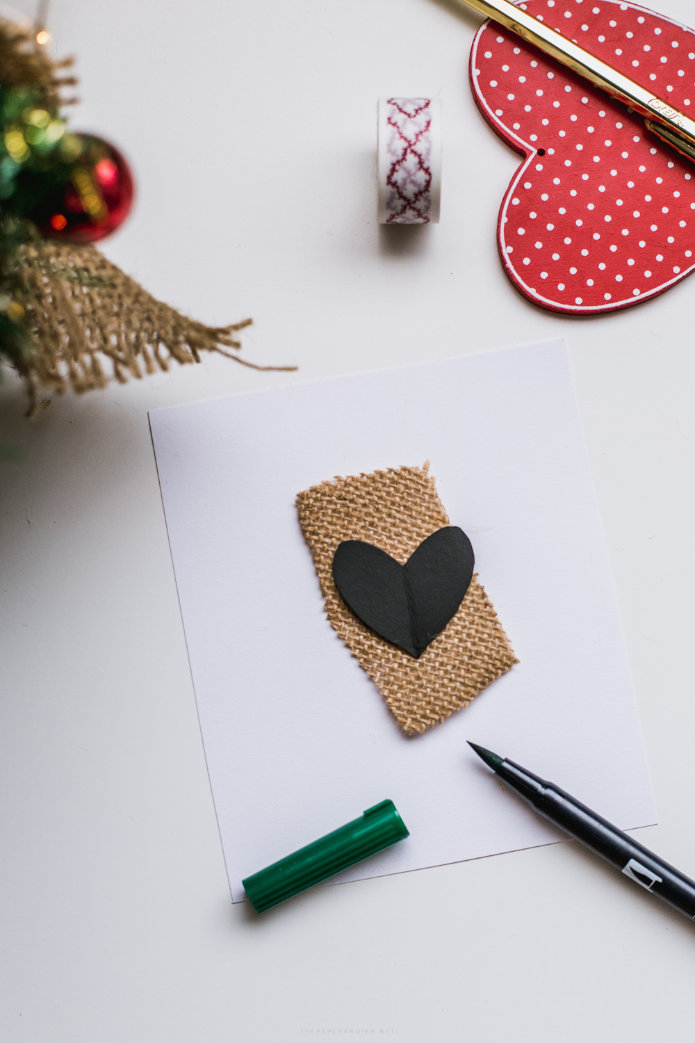 Christmas Card DIY: the heart over burlap holiday card