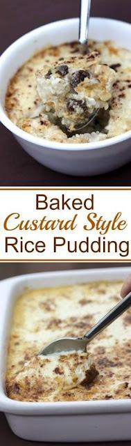 Baked Custard Style Rice Pudding
