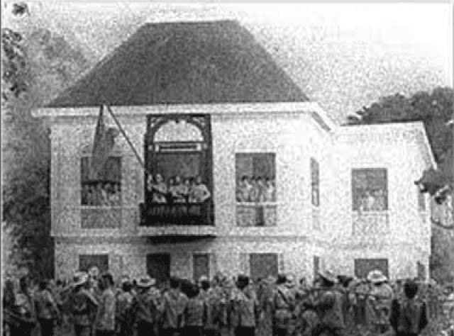 At the declaration of Philippine independence  in June 1898 in Cavite.  Image source:  Manila Times.