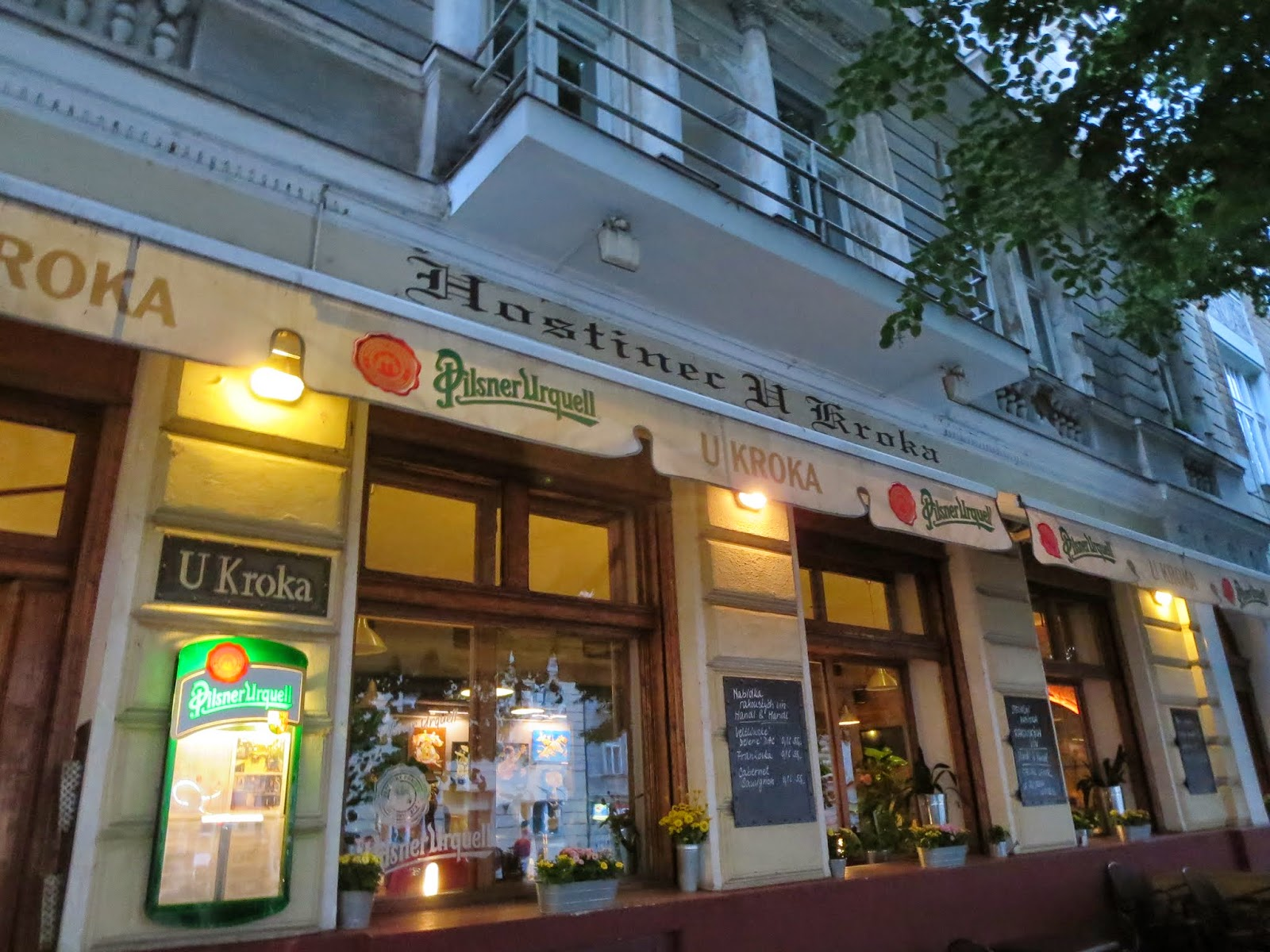 Exterior of Restaurace U Kroka in Prague