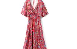 3496dbea8711 Vintage Chic Women Red Floral Print Bat Sleeve Beach Long Bohemian Maxi  Dresses Ladies V Neck Tassel Summer Boho Dress