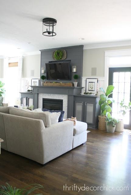 Dark fireplace in family room