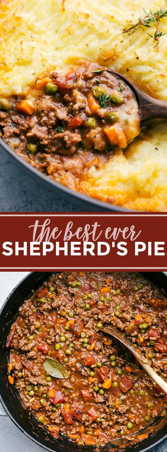 The ultimate BEST EVER Shepherd's Pie! A delicious and simple dinner! via chelseasmessyapron.com (try with Yukon gold and russet potatoes like she says; don't use grape juice because it is too sweet try 1/4 cup wine and 1/4 cup chicken broth to lighten it and could up to 1/2 cup wine if not too strong, don't use cast iron skillet because it will overflow, don't go over on liquids, add enough flour to take away the shine on the meat, cw)