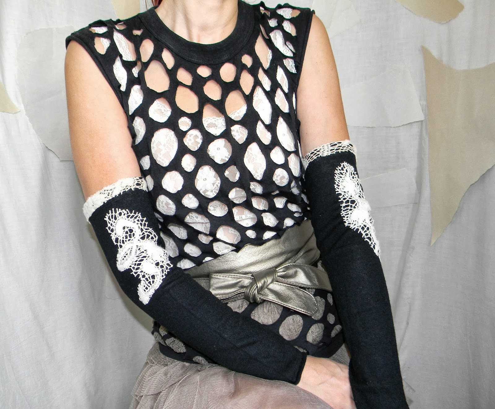 Knit Long Warmers Armlet Black and Ivory Wool Lace Cuffs Gothic Fashion