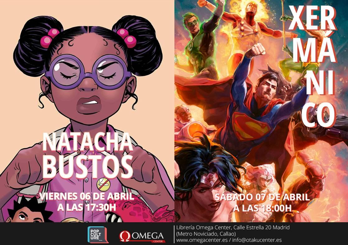 Los autores Natacha Bustos y Xermánico, en Omega Center Madrid el 6 y 7 de abril.