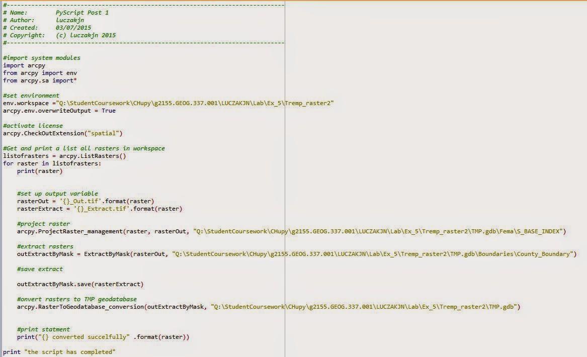 Geography 337: GIS II: Post 2: Python Scripting (3 Posts)