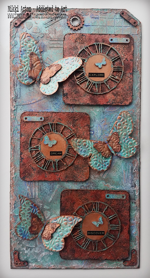 That's Crafty GiganTAG, shimmer paints and greyboard embellishments - by Nikki Acton