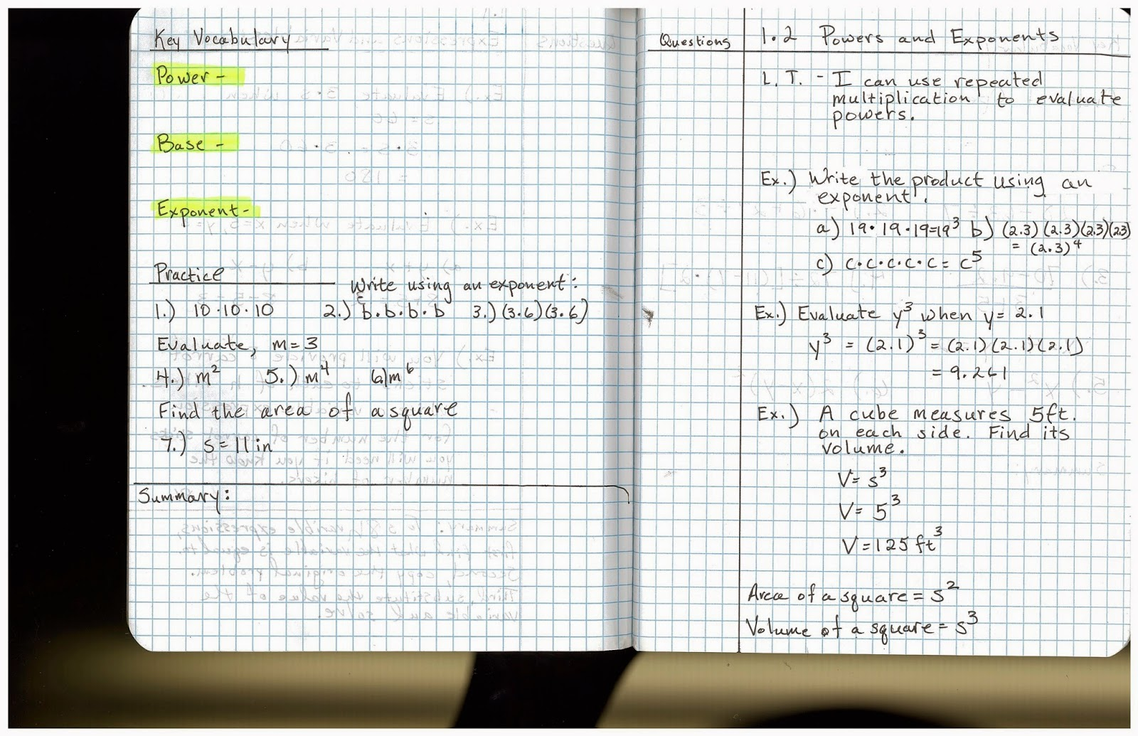 Heidemann 8th Grade Math Pre Algebra Notes 8 26