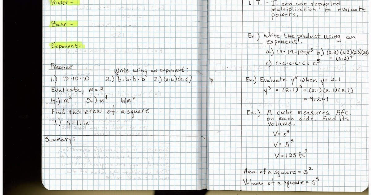 Heidemann 8th Grade Math: Pre Algebra Notes 8/26