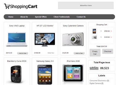 Shopping Cart  - Online Shopping Store Blogger Template