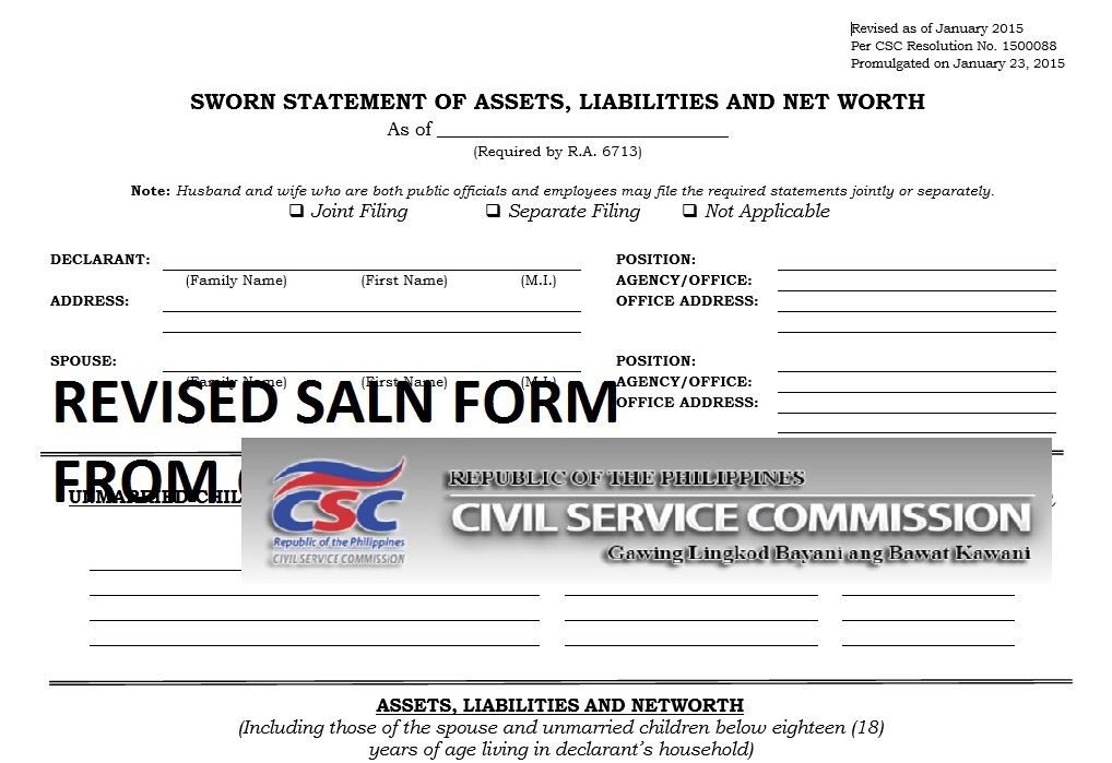 Statement of Assets, Liabilities, and Net Worth SALN Form, FAQ and - net worth form