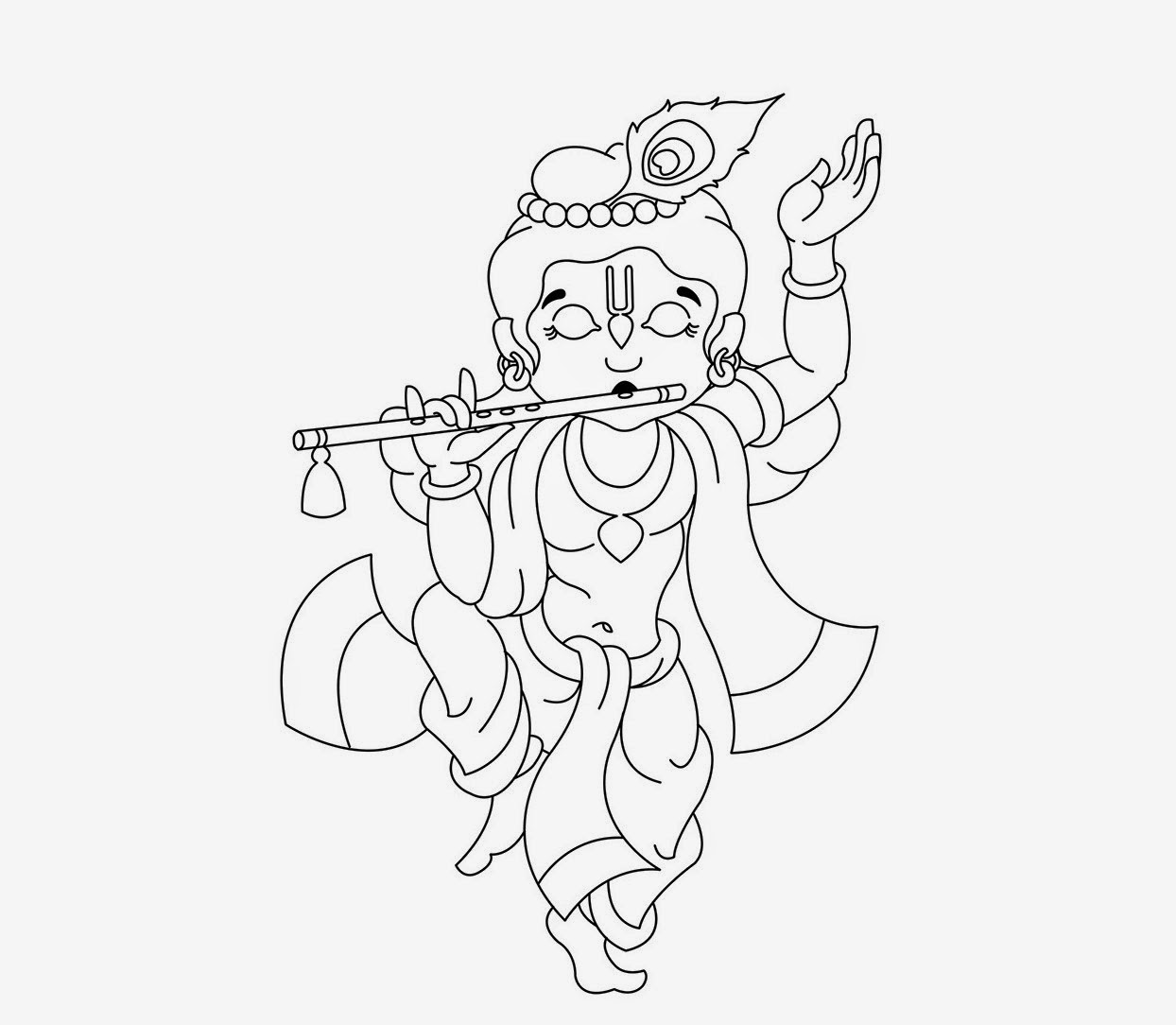 Little krishna coloring drawing free wallpaper anggela for Coloring pages of krishna