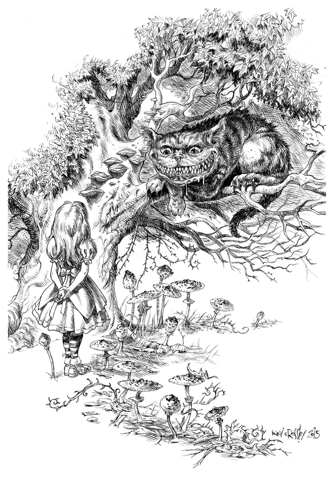alice in wonderland coloring pages tim burton - Google Search ... | 1600x1121
