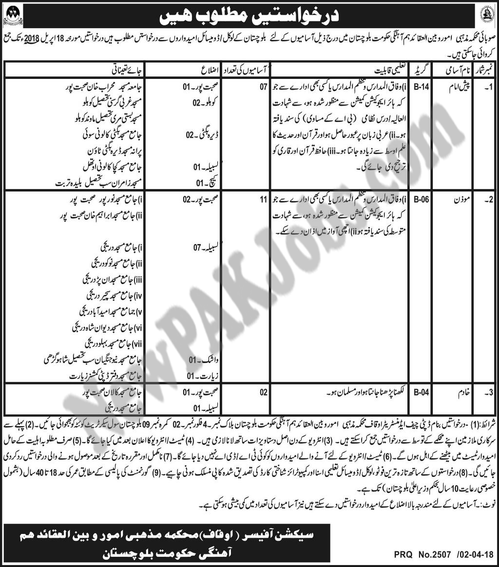 Latest April 2018 Jobs in Ministry Of Religious Affairs Government of Balochistan