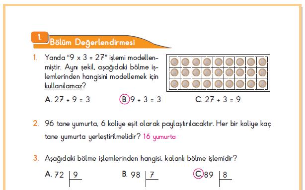 3. Sınıf Berkay Yayınları Matematik Ders Kitabı 186.Sayfa Cevapları 1. Bölüm Değerlendirme