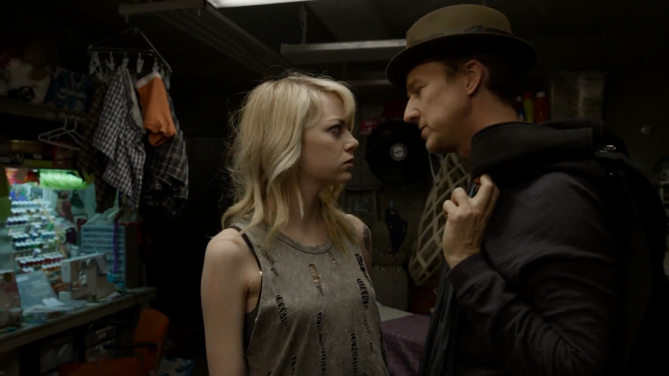 Emma Stone as Sam Thomson and Edward Norton as Mike Shiner in Birdman, Directed by Alejandro González Iñárritu, Oscar-winning film