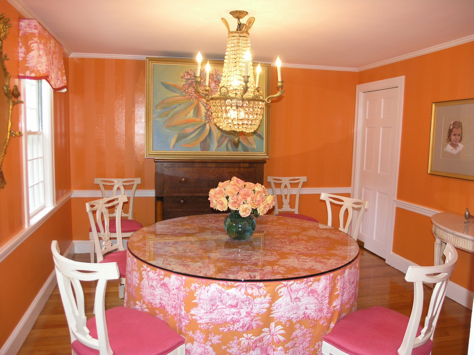 Open Plan Orange Dining Room With Dark Furniture In The First Picture Is Very Nice Combination Wall Combines White Floor Under Some