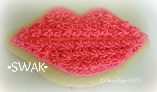 SWAK, Kiss Cookie, Valentine's Day, Pink Lips Sugar Cookie, Kissing Quote, Florals-Family-Faith, Cindy Rippe