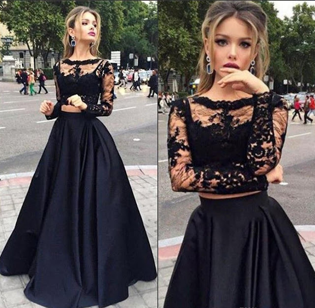 Scoop Neck Black Tulle Elastic Woven Satin Appliques Lace Long Sleeve Two Piece Prom Dress