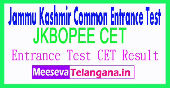 Jammu Kashmir Common Entrance Test CET Result 2017