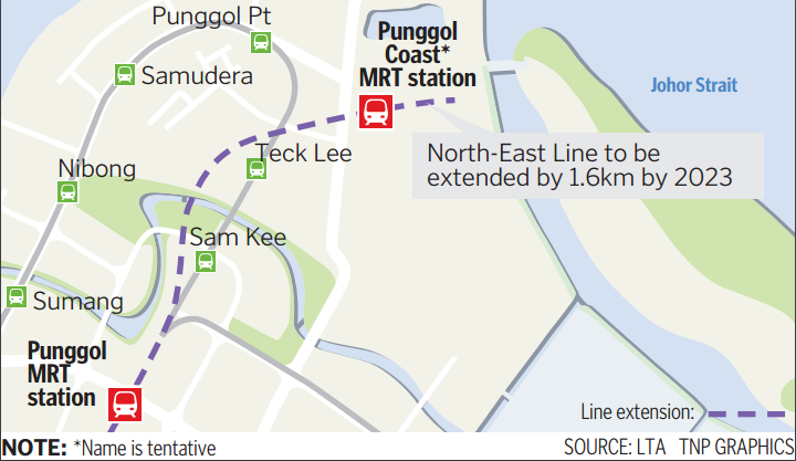 The station, which will be in the vicinity of Punggol Point and as-yet-opened Teck Lee LRT stations, will serve residential estates in the Northshore District and Punggol Point District
