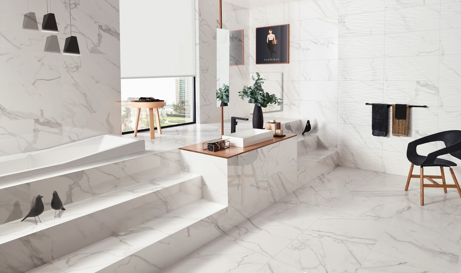 precious from florida tile is inspired by calacatta marble and features white backgrounds accentuated by deep grey and brown veins the many sizes available
