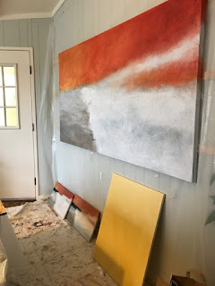 Large abstract painting in progress
