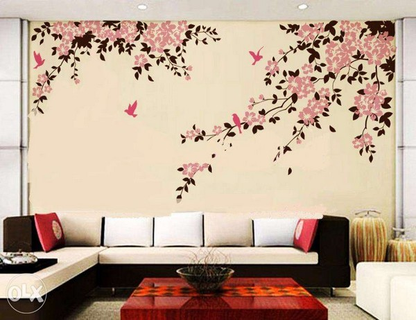 Lastest Home Designs Wall Paint Design For Drawing Room