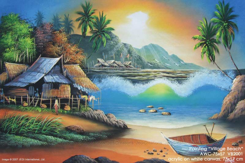Acrylic Painting Beach Scene Wallpaper Download 800 X 533 Hd