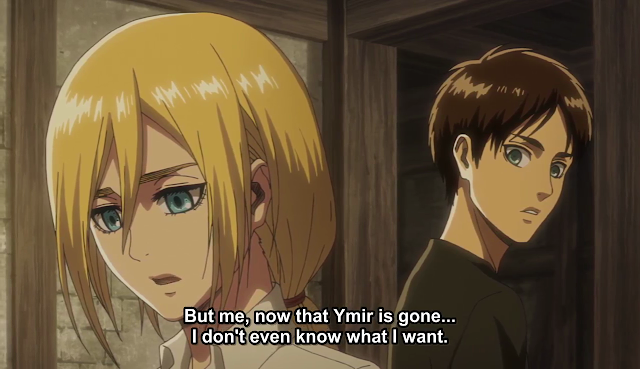 Historia has changed alot since the last season as she seems to revert back to her original self and not the girl we saw in the previous two seasons. Eren talks to her about this and says he prefers this as compared to the girl he once knew.