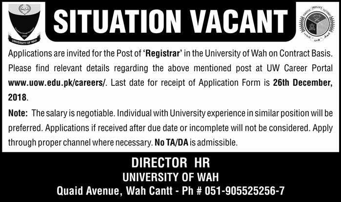 Jobs in UOW.edu.pk for Registrar Apply before 26 Dec 2018 newpakjobs.com