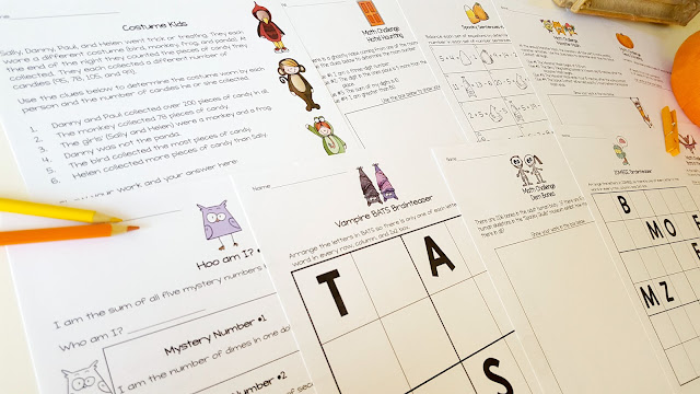Print & go math activities for Halloween!  These October Math Challenges are perfect for advanced 2nd and 3rd graders! Includes 26 challenge and brain teaser activities ready to go for centers, homework, problem of the week, or small group learning. Fun for kids and NO PREP for teachers! Click for details.