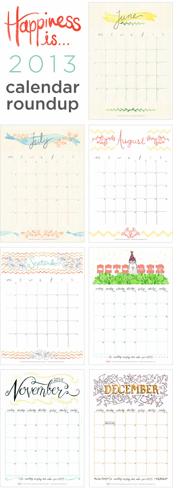 Free printable calendars from 2013 + free printable January 2014 calendar! Free printable January 2014 calendar! Designed & illustrated by fathima at Happiness is...