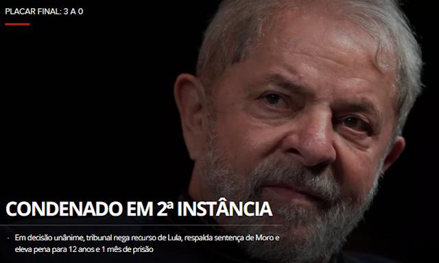 Tribunal Federal aumentou pena de Lula para 12 anos e 1 mês a ser cumprida em regime fechado