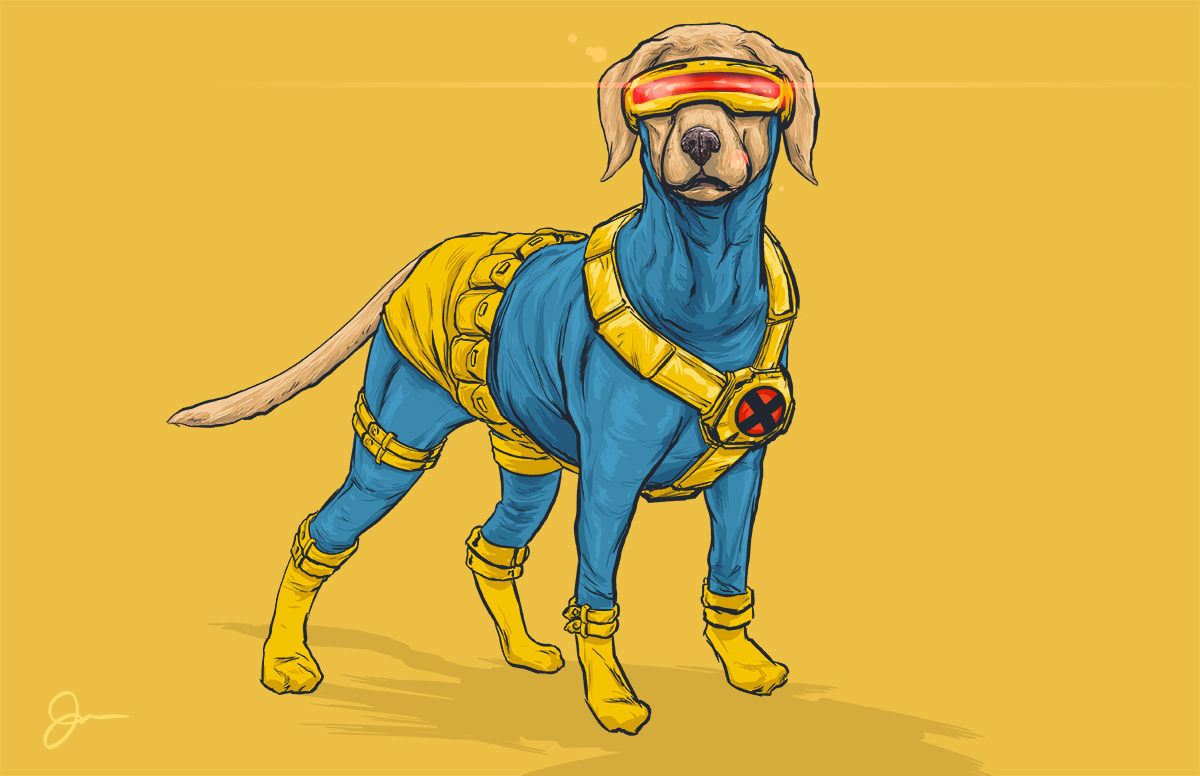 07-Cyclops-X-Men-Josh-Lynch-Illustrations-of-Dogs-with-Marvel-Comic-Alter-Egos-www-designstack-co