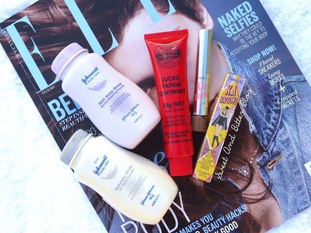 Johnson's Naturally White UV Powder and Melt Away Stress Aroma Relaxing Powder (recommendations by the Sales Assistant at Caring Pharmacy), Lucas' Papaw Ointment, Benefit Ka Brow (Free Sample with Elle Malaysia)