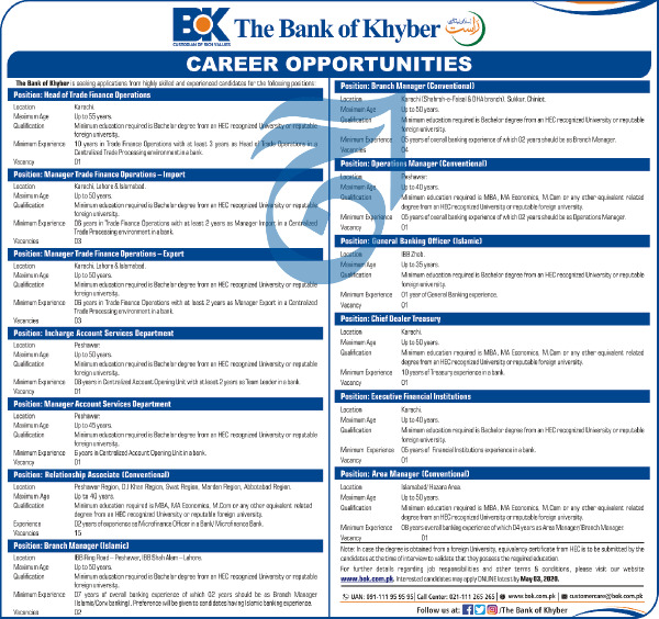 Jobs in Bank of Khyber BOK 2020 Advertisement
