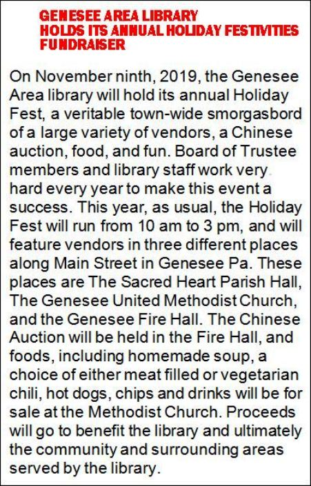 11-9 Holiday Fest, Genesee Library