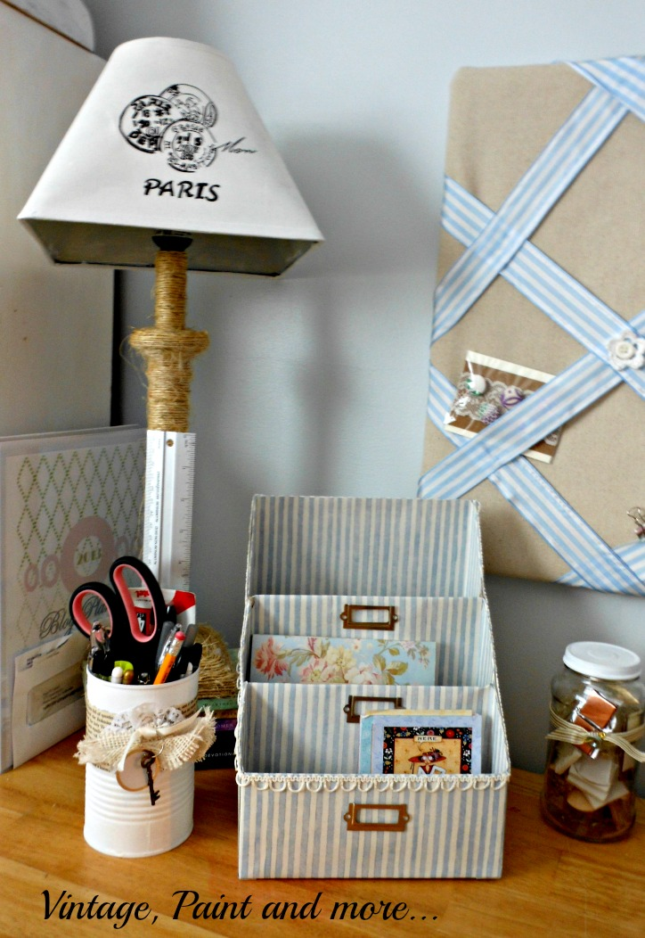 Vintage, Paint and more... a paper organizer made from cereal boxes and scrapbook paper, painted and decorated tin cans, twine wrapped lamp with stenciled lamp shade