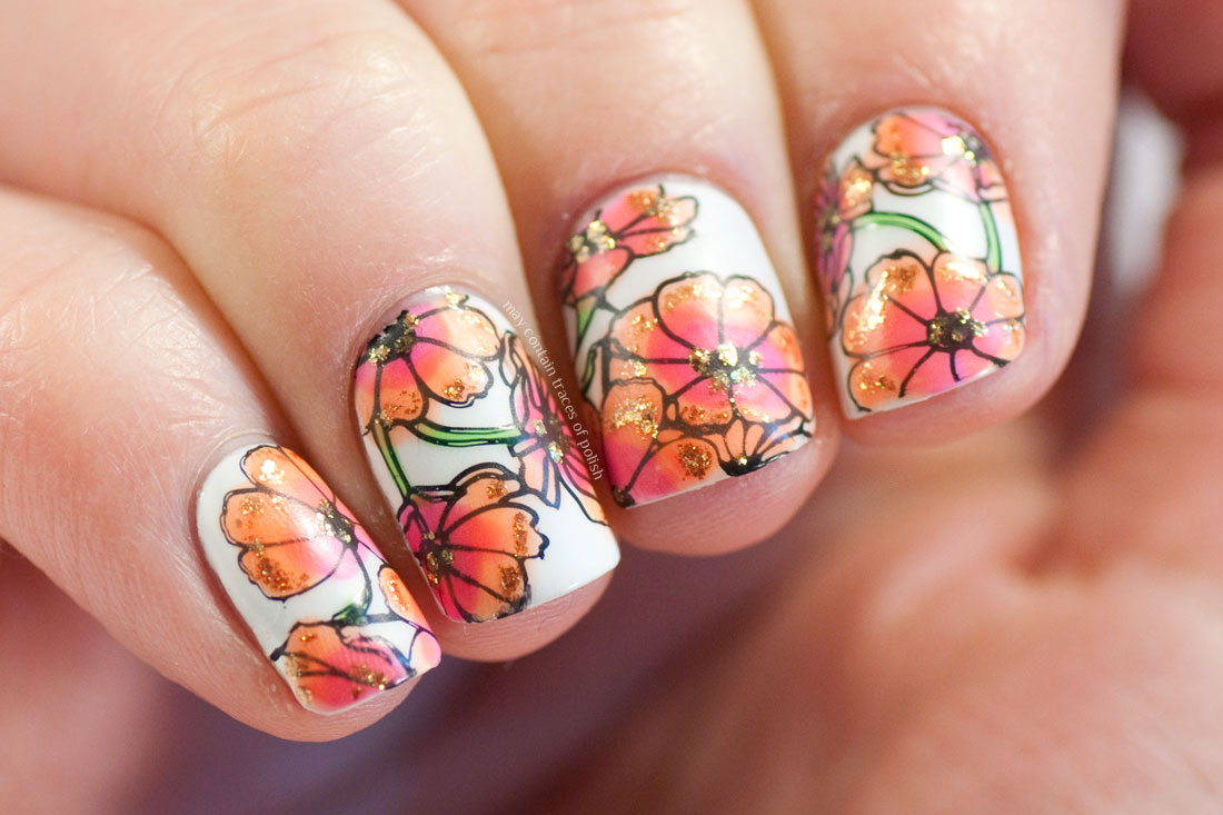 Colourful Flower Nails