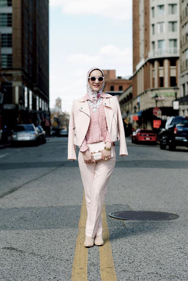 Monochromatic blush pink outfit - banana republic pink pants - bauble bar Adelia bib necklace - haute hijab scarf - ted baker clutch - hijabi - ASOS pink sunglasses - fashion blogger - street style modest fashion