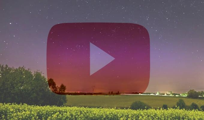 Timelapse. Zorza polarna między godz. 23:10 a 00:30 CEST nad Poznaniem. Autor: Leszek Bartczak