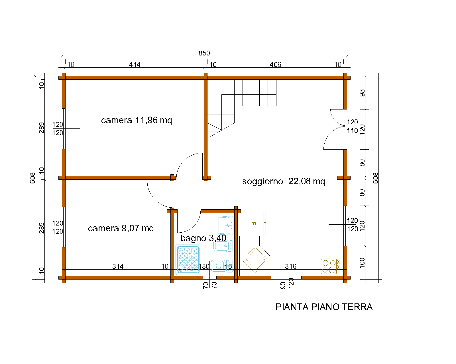 Super Progetti di case in legno: CASA A DUE PIANI 103 MQ + BALCONE NM06