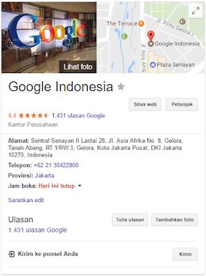 hasil pencarian google indonesia di Google Business Local atau My Business