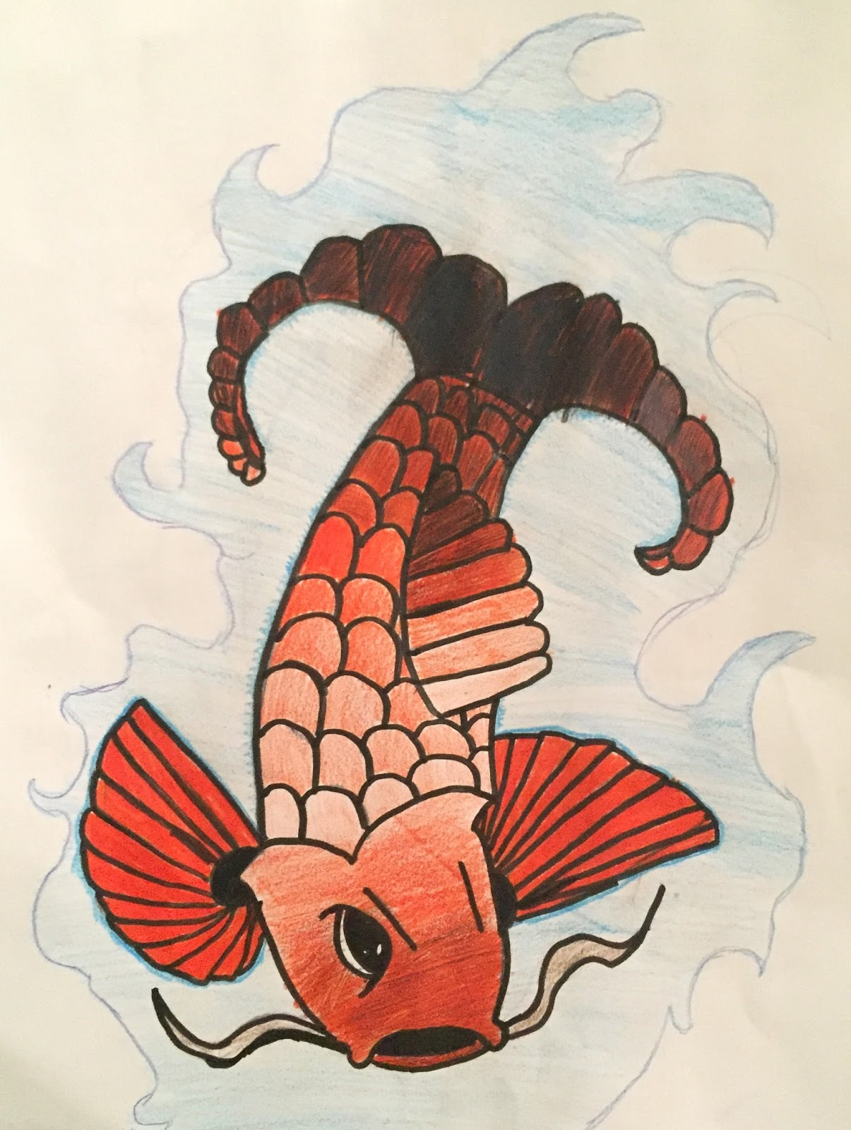 Ms. Kober | Archway Trivium Art: 5th GRADE JAPANESE KOI FISH DRAWINGS